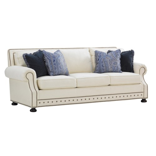 Tommy Bahama Home Island Traditions Devon Sofa with Nailhead Trim In Cream Fabric