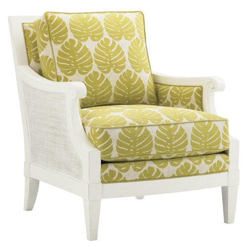 Tommy Bahama Home Ivory Key Marley Chair with Woven Rattan Sides