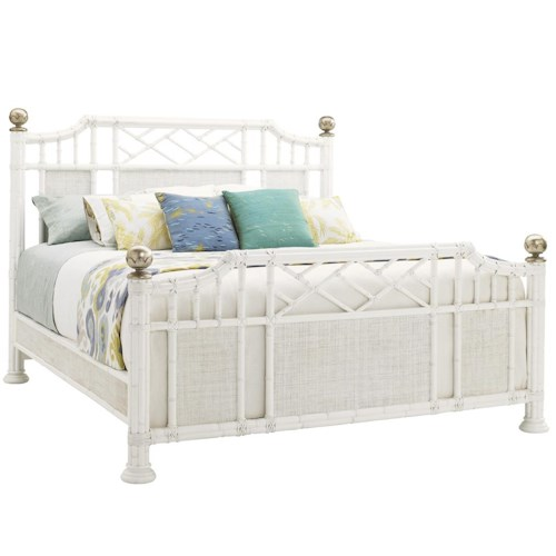 Tommy Bahama Home Ivory Key California King Pritchards Bay Panel Bed with Leather Wrapped Rattan and Silver Leaf Finials