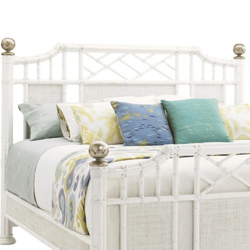 Tommy Bahama Home Ivory Key Queen Pritchards Bay Panel Headboard with Leather Wrapped Rattan
