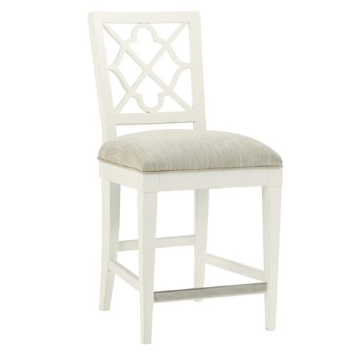 Tommy Bahama Home Ivory Key <b> Customizable </b>  Newstead Counter Stool with Quatrefoil Splat Back