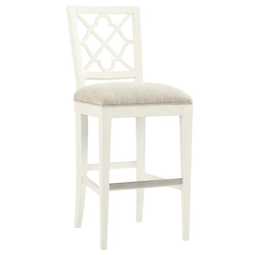 Tommy Bahama Home Ivory Key <b> Quickship </b> Newstead Bar Stool with Quatrefoil Splat Back