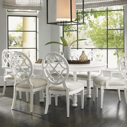 Tommy Bahama Home Ivory Key 7 Piece Round Knapton Hill Dining Table with Mill Creek Dining Chairs with Quatrefoil Diamond Backs