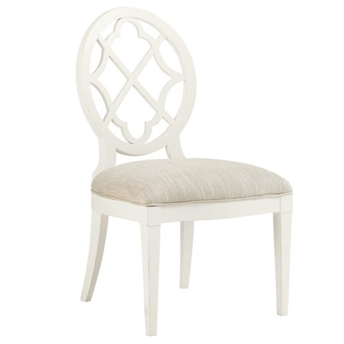 Tommy Bahama Home Ivory Key <b> Customizable </b>Mill Creek Side Dining Chair with Quatrefoil Diamond Back