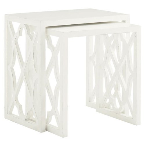 Tommy Bahama Home Ivory Key Stovell Ferry Nesting Tables with Lattice Sides