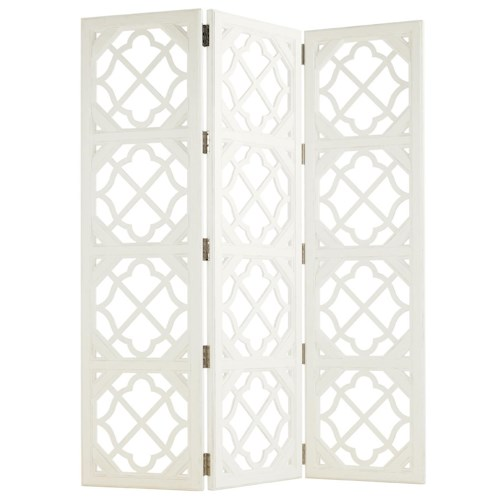Tommy Bahama Home Ivory Key 3 Panel Abbotts Landing Folding Screen with Quatrefoil Fretwork