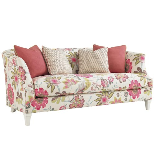 Tommy Bahama Home Ivory Key Swan Island Sofa with Tuxedo Back