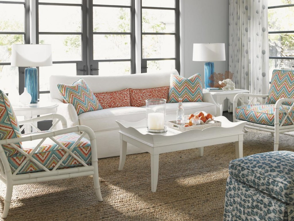 Shown with Horseshoe Bay Tray Cocktail Table, Heydon Chair, and Half Moon Caye Ottoman