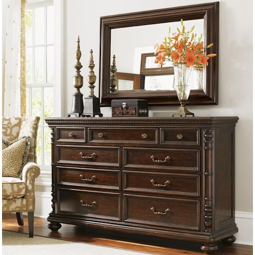 Tommy Bahama Home Kilimanjaro Pennington Dresser and Landsdowne Mirror with Media Storage