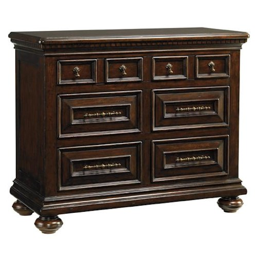 Tommy Bahama Home Kilimanjaro Valhalla Bachelor's Chest with Dentil Moulding and Brass Teardrop Hardware