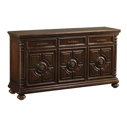 Tommy Bahama Home Kilimanjaro Senegal Buffet with Hammered Copper Top and Full-Extension Felt-Lined Drawers