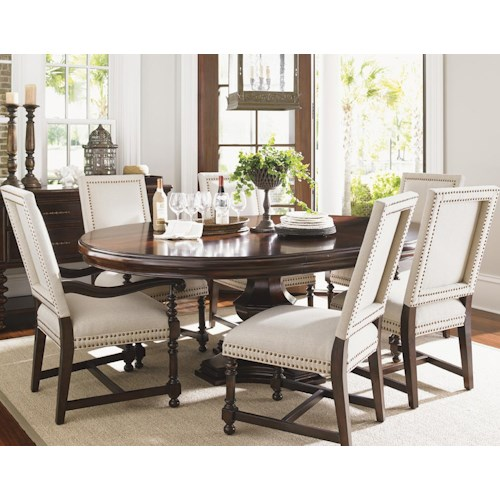 Tommy Bahama Home Kilimanjaro Seven Piece Maracaibo Dining Table and Cape Verde Upholstered Chairs Set