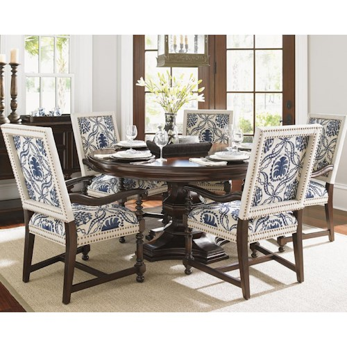 Tommy Bahama Home Kilimanjaro Six Piece Maracaibo Table and Cape Verde Custom Upholstered Chairs Set