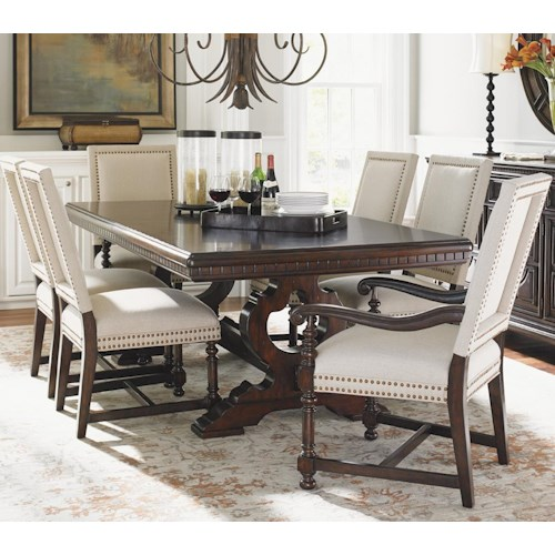 Tommy Bahama Home Kilimanjaro Seven Piece Expedition Table and Cape Verde Upholstered Chairs Set