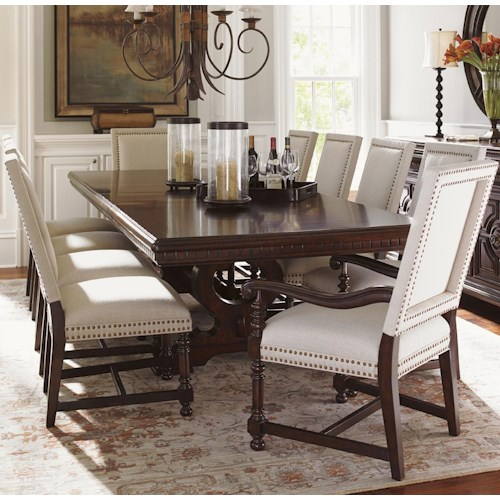 Tommy Bahama Home Kilimanjaro Eleven Piece Expedition Table and Cape Verde Upholstered Chairs Set
