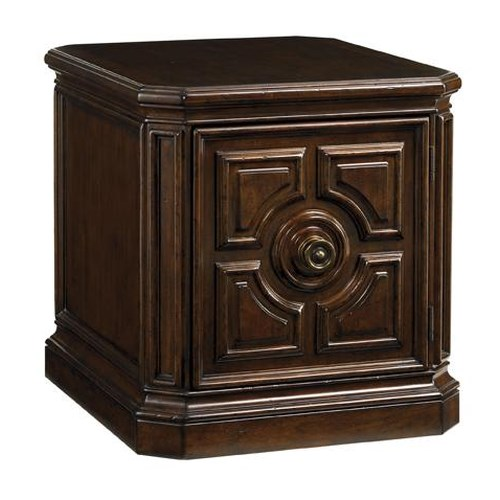 Tommy Bahama Home Kilimanjaro Crawford Storage Lamp Table with Intricately Carved Door and Ebony Detail