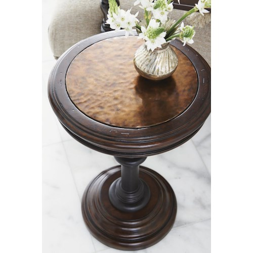 Tommy Bahama Home Kilimanjaro Queenstown Round Accent Table with Hammered Copper Top