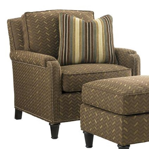 Tommy Bahama Home Kilimanjaro Bishop Chair with Padded Arm Caps and Nailhead Trim
