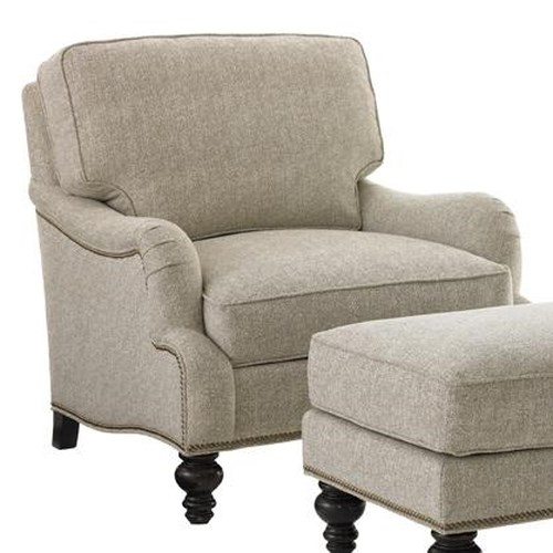 Tommy Bahama Home Kilimanjaro Amelia Chair with Scalloped English Arms and Nailhead Trim