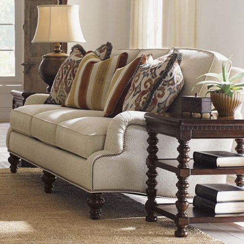 Tommy Bahama Home Kilimanjaro Amelia Sofa with Scalloped English Arms and Nailhead Trim