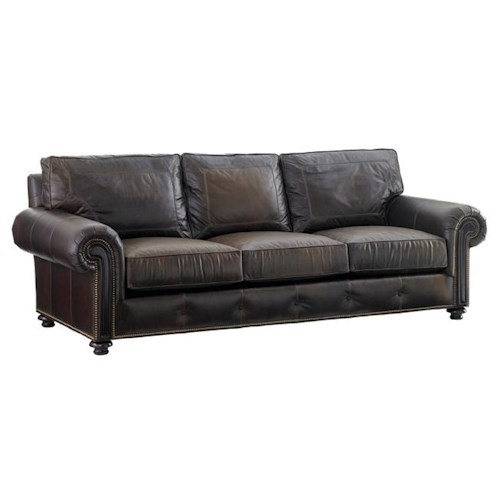 Tommy Bahama Home Kilimanjaro Riversdale Sofa with Rolled Exposed Wood Panel Arms and Button Tuft Detailing