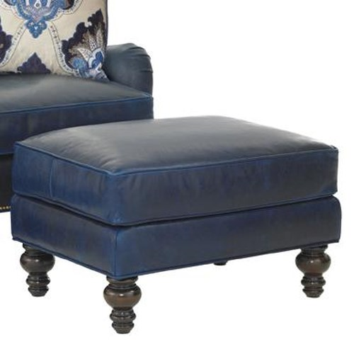 Tommy Bahama Home Kilimanjaro Amelia Ottoman with Turned Wood Feet