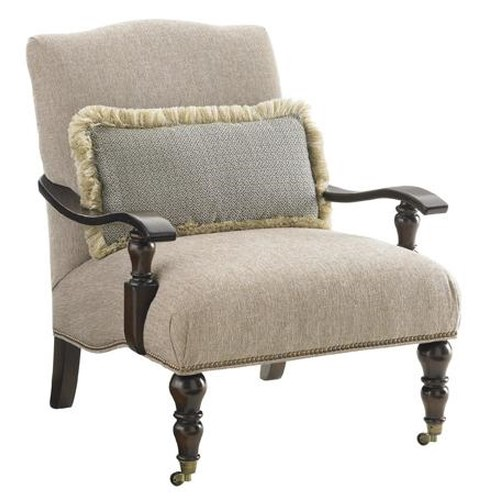 Tommy Bahama Home Landara San Carlos Chair with Exposed Wood Arms and Casters