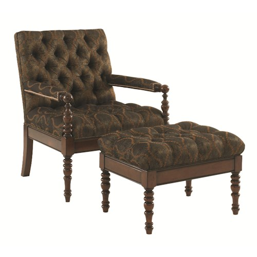 Tommy Bahama Home Landara Carrera Tufted Chair and Ottoman Set with Exposed Wood and Turned Legs