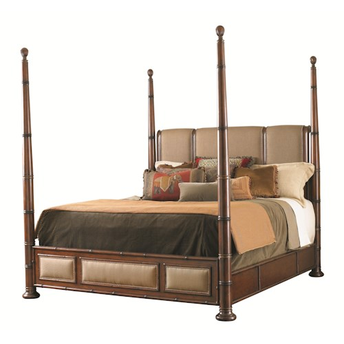 Tommy Bahama Home Landara California King Monarch Bay Poster Bed with Upholstered Accents and Brass Nailheads