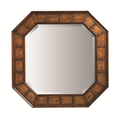 Tommy Bahama Home Landara Cape Coral Octagonal Mirror with Crushed Bamboo Frame