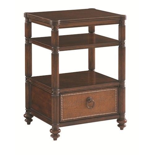 Tommy Bahama Home Landara Seacliffe One Drawer Night Table with Woven Raffia Drawer Front and Fluted Pilasters