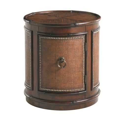 Tommy Bahama Home Landara Sandpiper Round Lamp Table with Woven Raffia and Crushed Bamboo