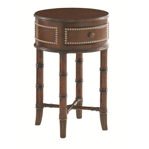 Tommy Bahama Home Landara Bandera Leather Accent Table with Bamboo Legs and Brass Ferrules