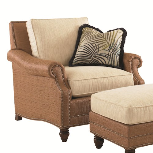 Tommy Bahama Home Landara Shoal Creek Chair with Turned Legs and Nailhead Border