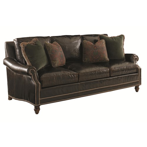 Tommy Bahama Home Landara Shoal Creek Sofa with Turned Legs and Nailhead Border