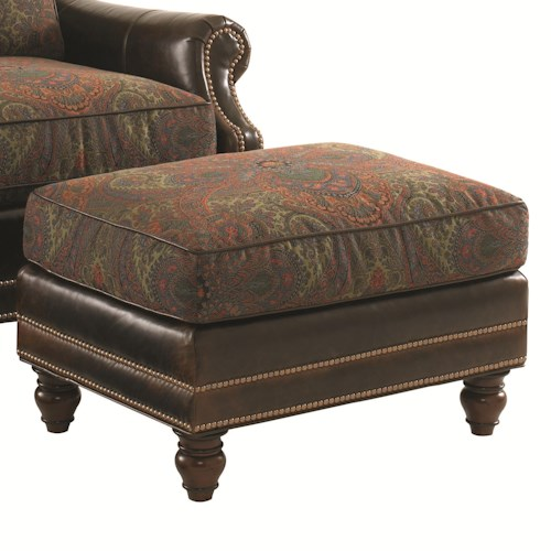 Tommy Bahama Home Landara Shoal Creek Ottoman with Turned Legs and Nailhead Trim