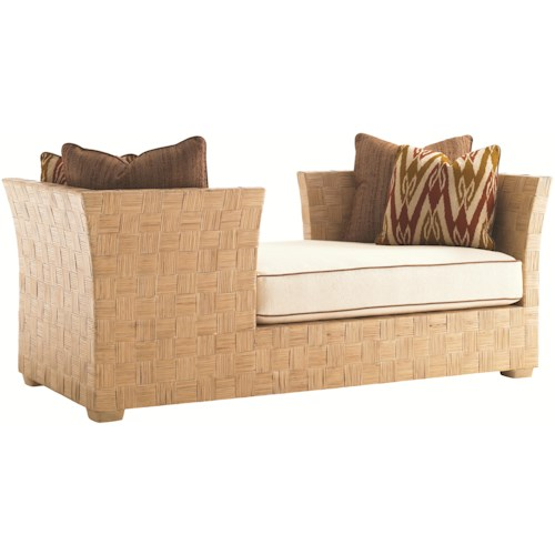 Tommy Bahama Home Road To Canberra Port Douglas Tete-a-Tete Fabric Upholstered Double Ended Chaise with Woven Rattan