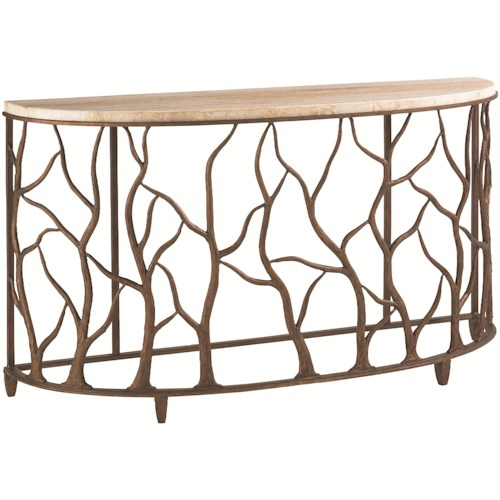 Tommy Bahama Home Road To Canberra Demilune Bannister Garden Console Table with Honed Travertine Top & Organic Branch Designed Base