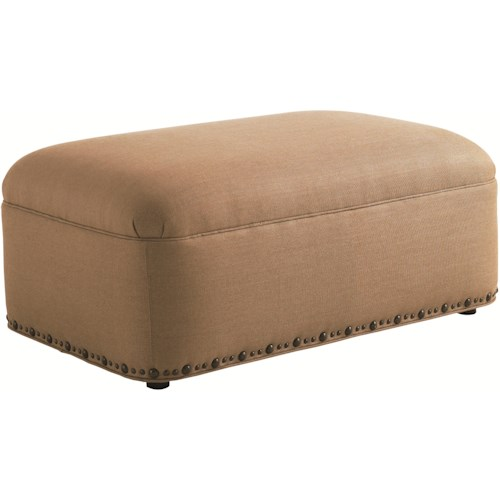 Tommy Bahama Home Road To Canberra Thorpe Oversized Rectangular Cocktail Ottoman with Decorative Nailhead Trim