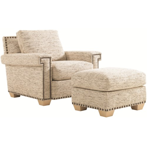 Tommy Bahama Home Road To Canberra Torres Fabric-Upholstered Chair & Ottoman with Exposed Wood Feet & Decorative Nailhead Trim