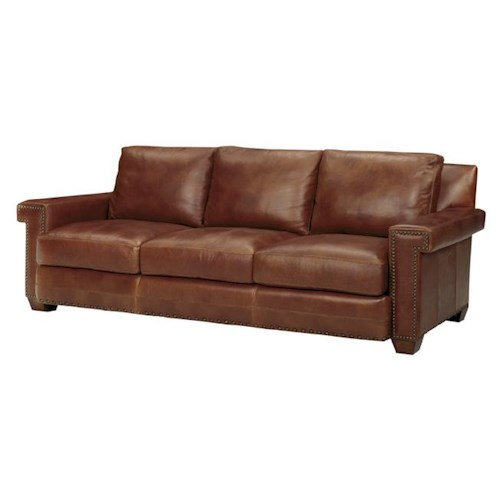 Tommy Bahama Home Road To Canberra Quick Ship Torres Leather-Upholstered Loose Back Sofa with Decorative Nailhead Trim
