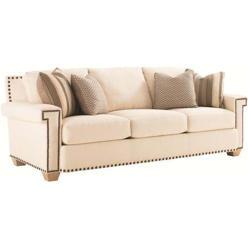 Tommy Bahama Home Road To Canberra Torres Fabric-Upholstered Sofa with Geometric Arms & Decorative Nailhead Trim
