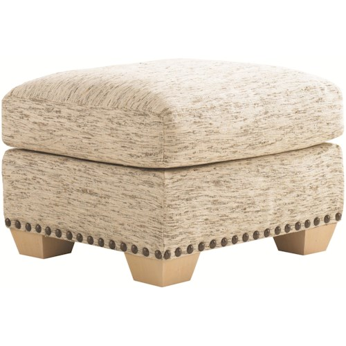Tommy Bahama Home Road To Canberra Torres Fabric-Upholstered Two-Tier Ottoman  with Exposed Wood Feet & Decorative Nailhead Trim