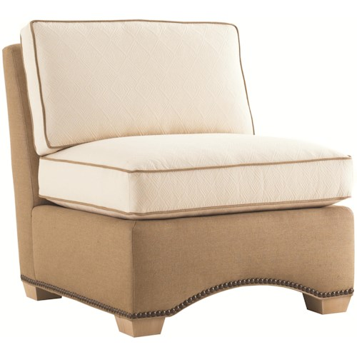 Tommy Bahama Home Road To Canberra Parkes Fabric-Upholstered Armless Chair with Arched Base & Decorative Nailhead Trim