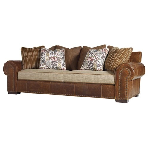 Tommy Bahama Home Road To Canberra Ellerston Rolled Arm Loose Back Sofa with Decorative Nailhead Trim & Throw Pillows
