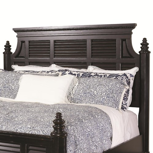 Tommy Bahama Home Kingstown Queen-Size Malabar Panel Headboard with Shutter Details & Classic Crown Molding