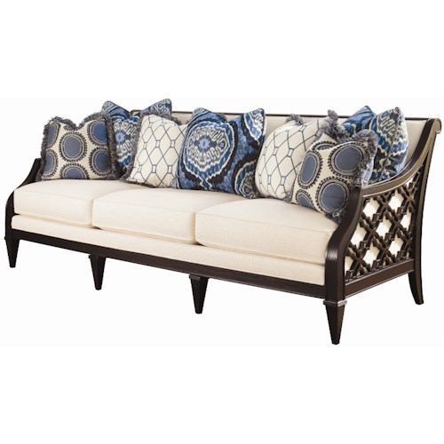 Tommy Bahama Home Royal Kahala Bay Club Exposed Wood Sofa with Quatrefoil Design
