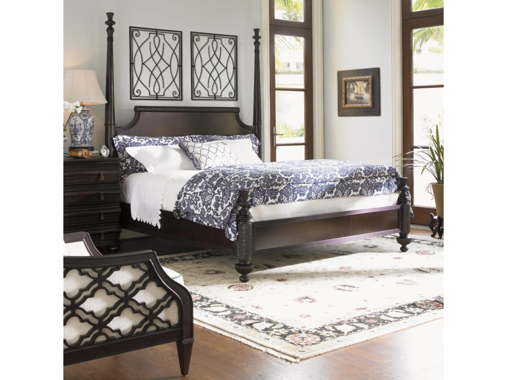 Shown with High/Low Post Option with Black Sands Night Chest and Bay Club Chair - Bed Shown May Not Represent Size Indicated