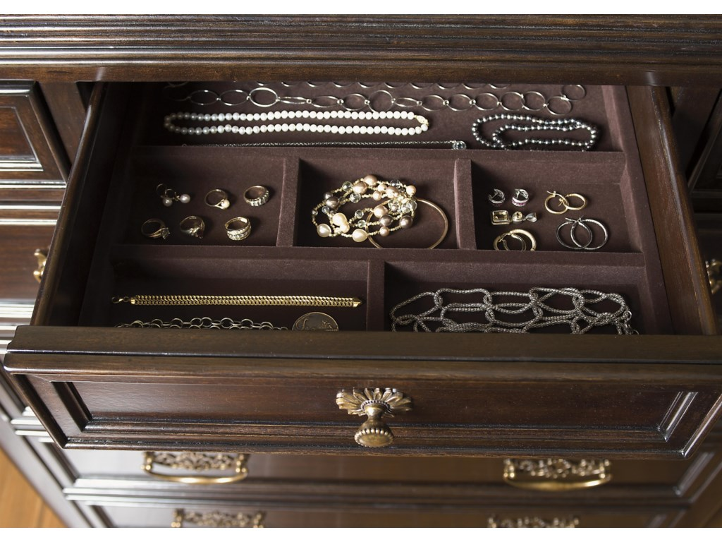 Top Drawer Includes Partitioned Jewelry Tray