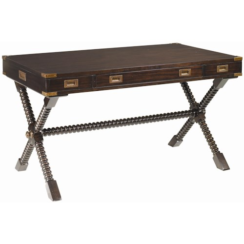 Tommy Bahama Home Royal Kahala Poets Crossing Writing Desk with Brass Accents